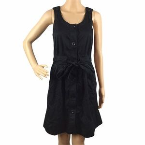 Marc by Marc Jacobs Black Dress Size XS Button Front Tie Waist Sleeveless